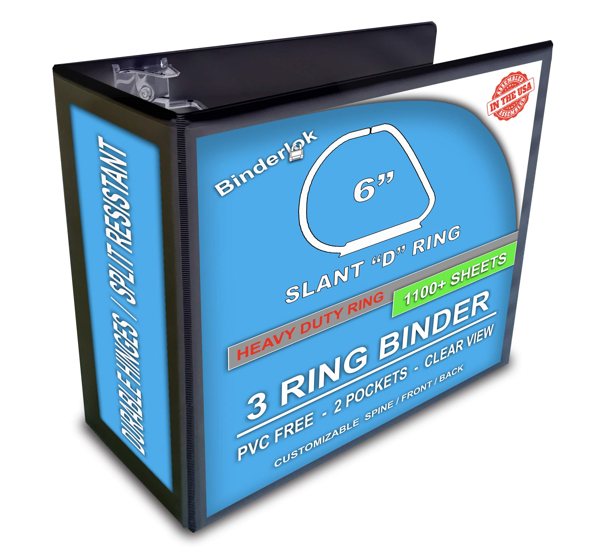 3 Ring Binder, 6-Inch, Black, 4 Pack, Clear View, Pockets by Ring Binder Depot