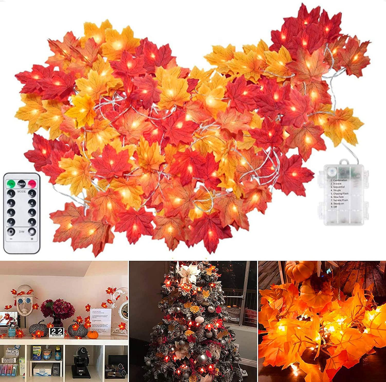 Thanksgiving Fall Maple Leaf String Lights, 20 Feet Length, 40 Led Leaf Garland String Lights Battery Powered, Waterproof Lifelike Orange Fall Garland Lights Decor for Party Indoor Outdoor