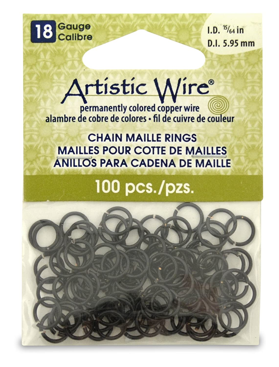 Artistic Wire Beadalon 15/64-inch 100 Piece 18-Gauge Chain Maille Rings, Black A314-18-02-10