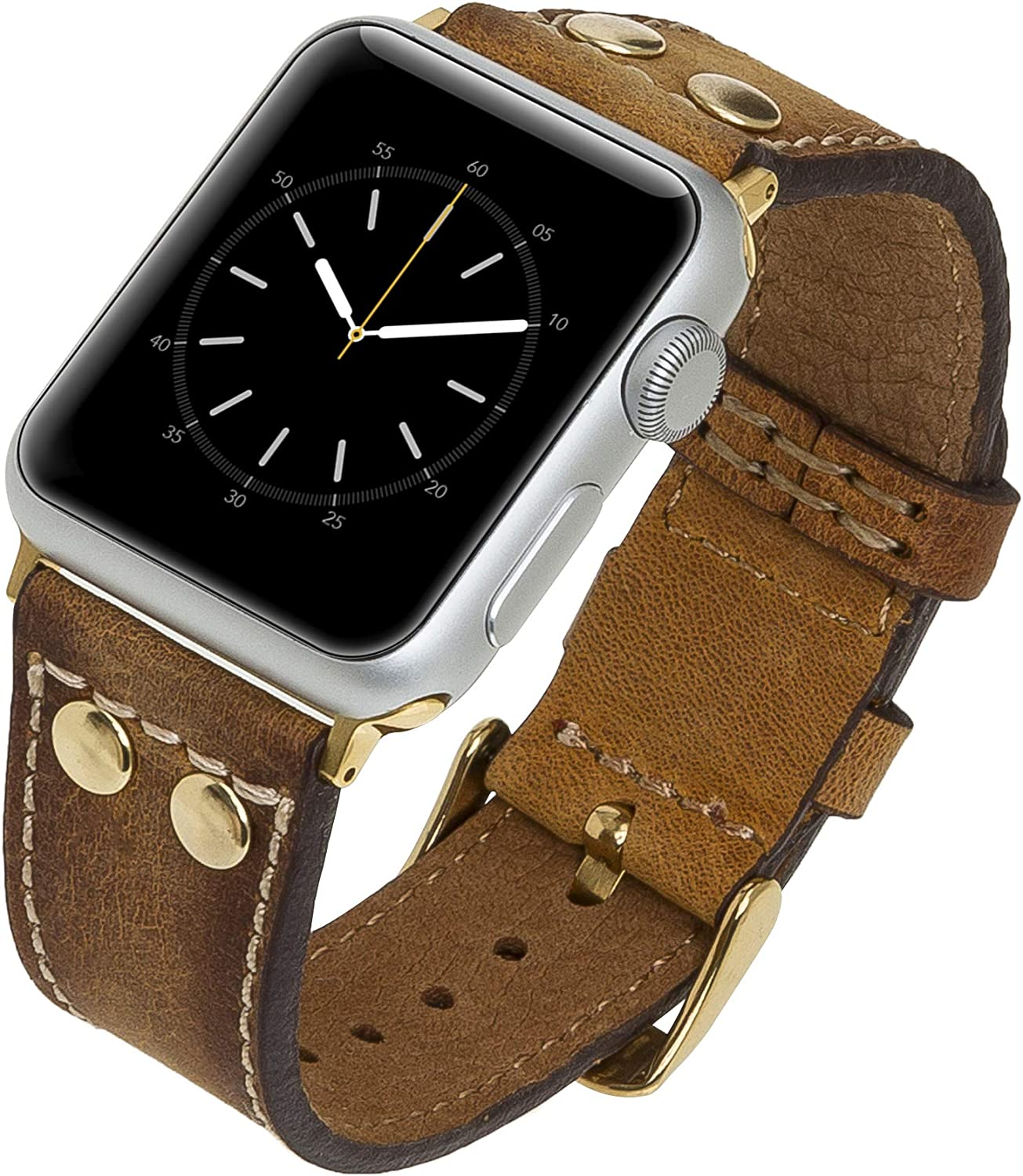 Venito Como Handmade Premium Leather Watch Band Compatible with the Newest Apple Watch iwatch Series 6 as well as Series 1, 2, 3, 4, 5 (Antique Brown w/ Gold Stainless Steel Hardware, 38mm-40mm)