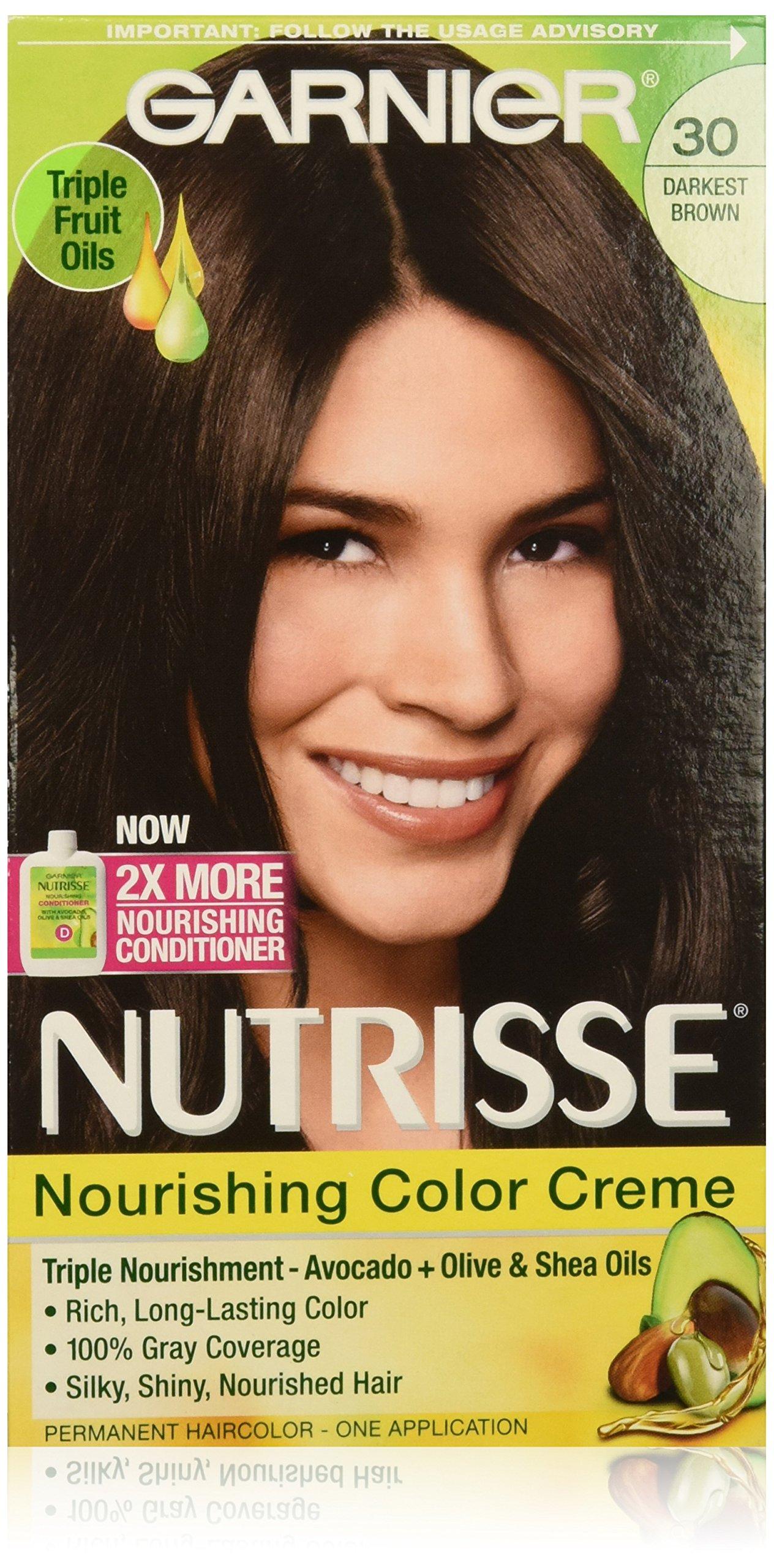 Garnier Nutrisse Nourishing Hair Color Creme, 30 Darkest Brown (Sweet Cola), 3 Count (Packaging May Vary) by Garnier