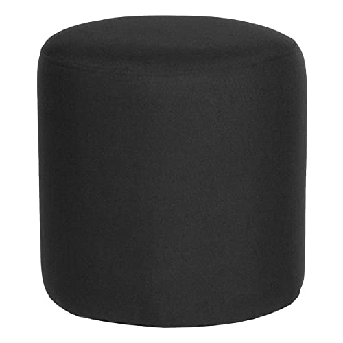 Flash Furniture Barrington Upholstered Round Ottoman Pouf in Black Fabric