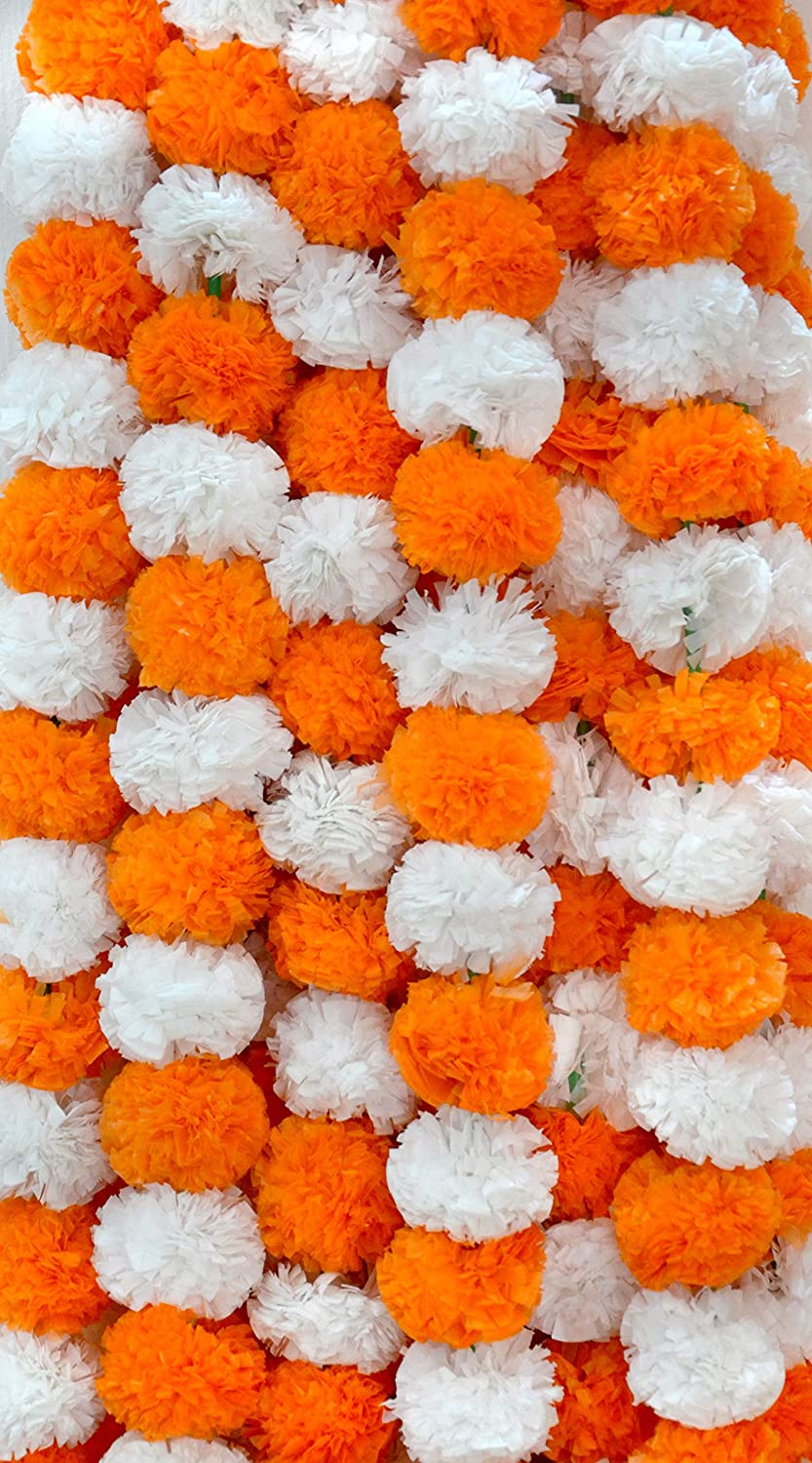 DECORATION CRAFT Pack of 5 Artificial Dark Orange and White Marigold Flower Garlands 5 Feet Long for Parties Indian Weddings Indian Theme Decorations Home Decoration Photo Prop Diwali Indian Festival