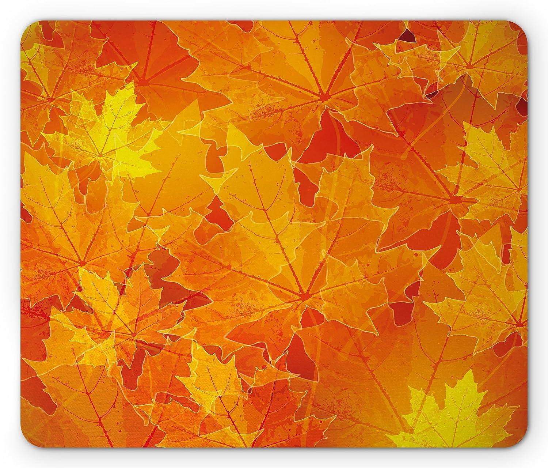 Amazon Com Ambesonne Fall Mouse Pad Seasonal Maple Tree Leaves