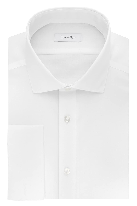 Calvin Klein Mens Non Iron Slim Fit Herringbone French Cuff Dress Shirt Calvin Klein Dress Shirts 33K3583