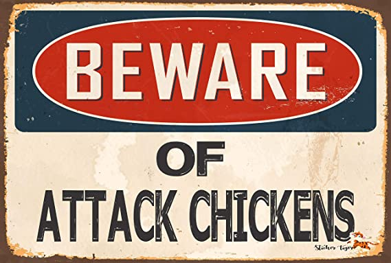 SP0428 Beware of ATTACK CHICKEN Sign Bar Store Shop Cafe Home Chic Decor Gift