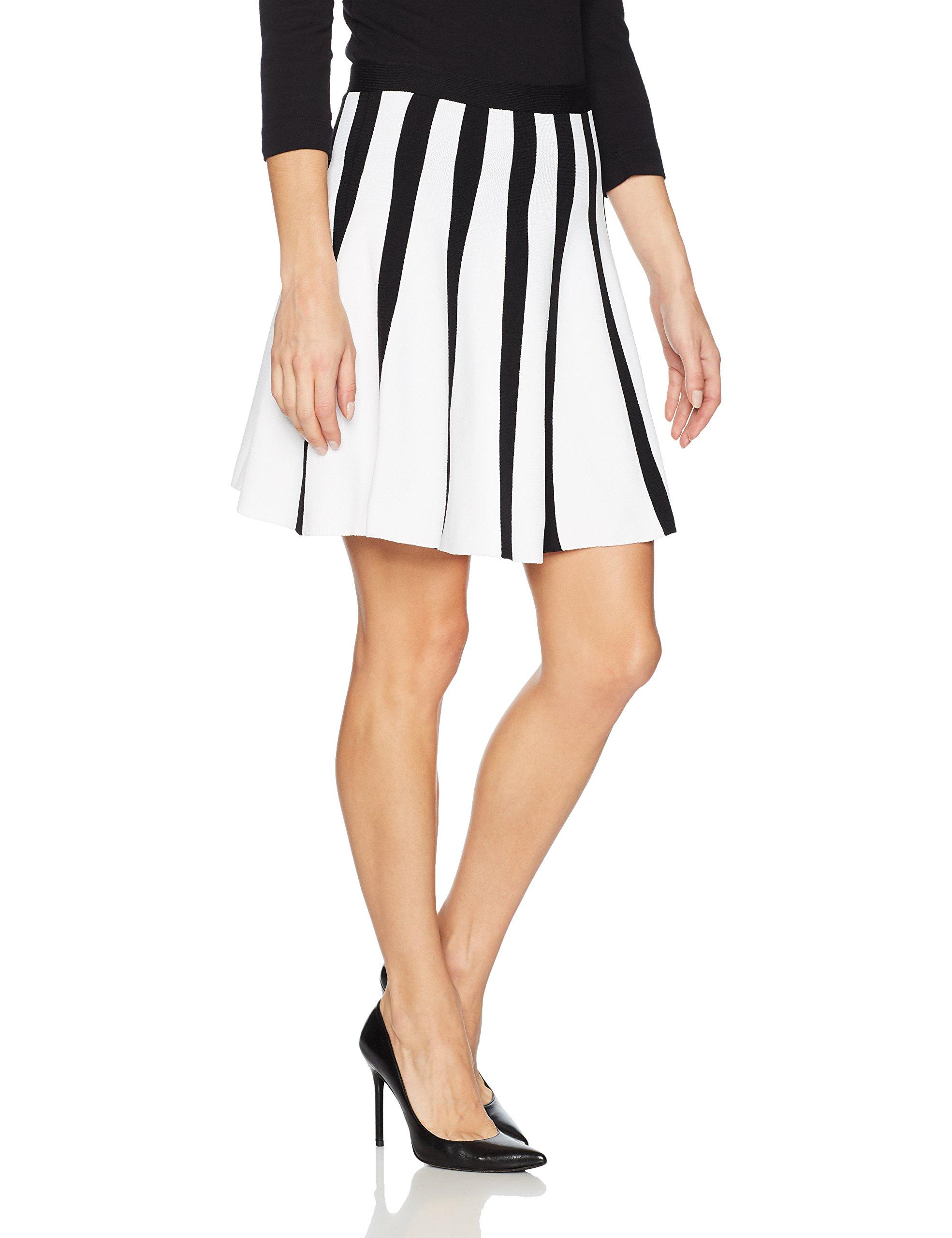 A|X Armani Exchange Women's Striped Pleated Short Skirt, Black/White, XS