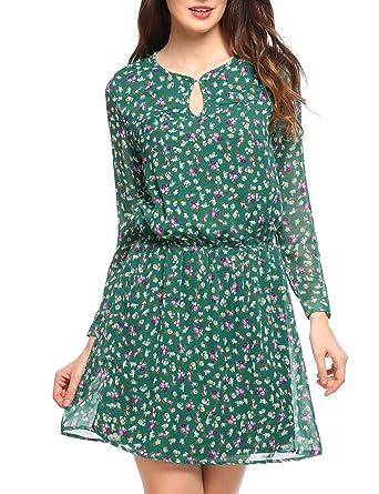 5c3834a74b61c0 Zeagoo Damen V-Ausschnitt Chiffonkleid Party Sommerkleid Festliches Kleid A- Linie