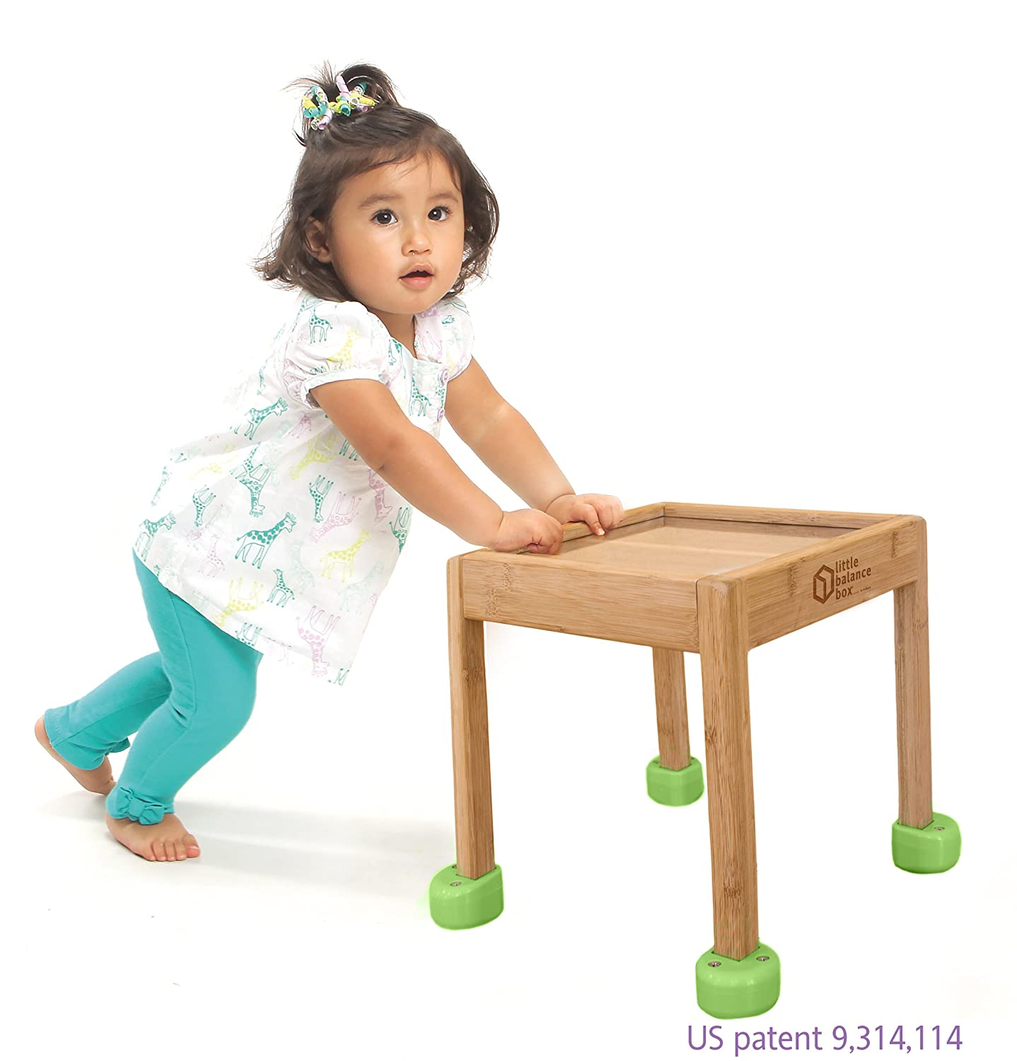 Little Balance Box 2-in-1: No Wheels Spring Feet, Girl Boy Baby Walker Push Stand Toys, Toddler Activity Table, Award Winning (Green)
