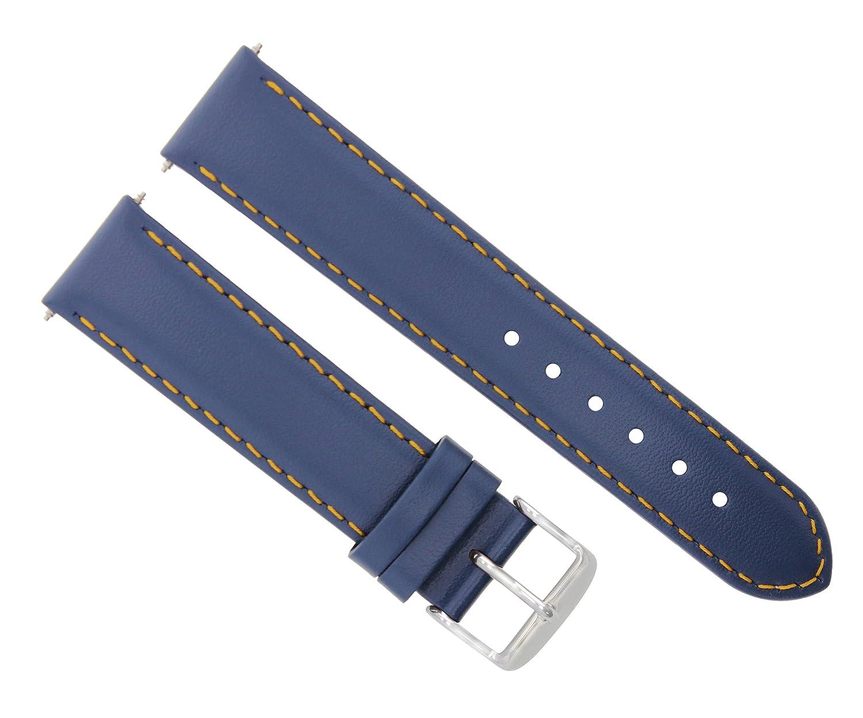 18 – 19 – 20 – 22 – 24 mmレザー腕時計バンドストラップSmooth for Citizen Eco Driveブルー# 4 24mm Blue with Orange stitching  Blue with Orange stitching 24mm B07D78X63Q
