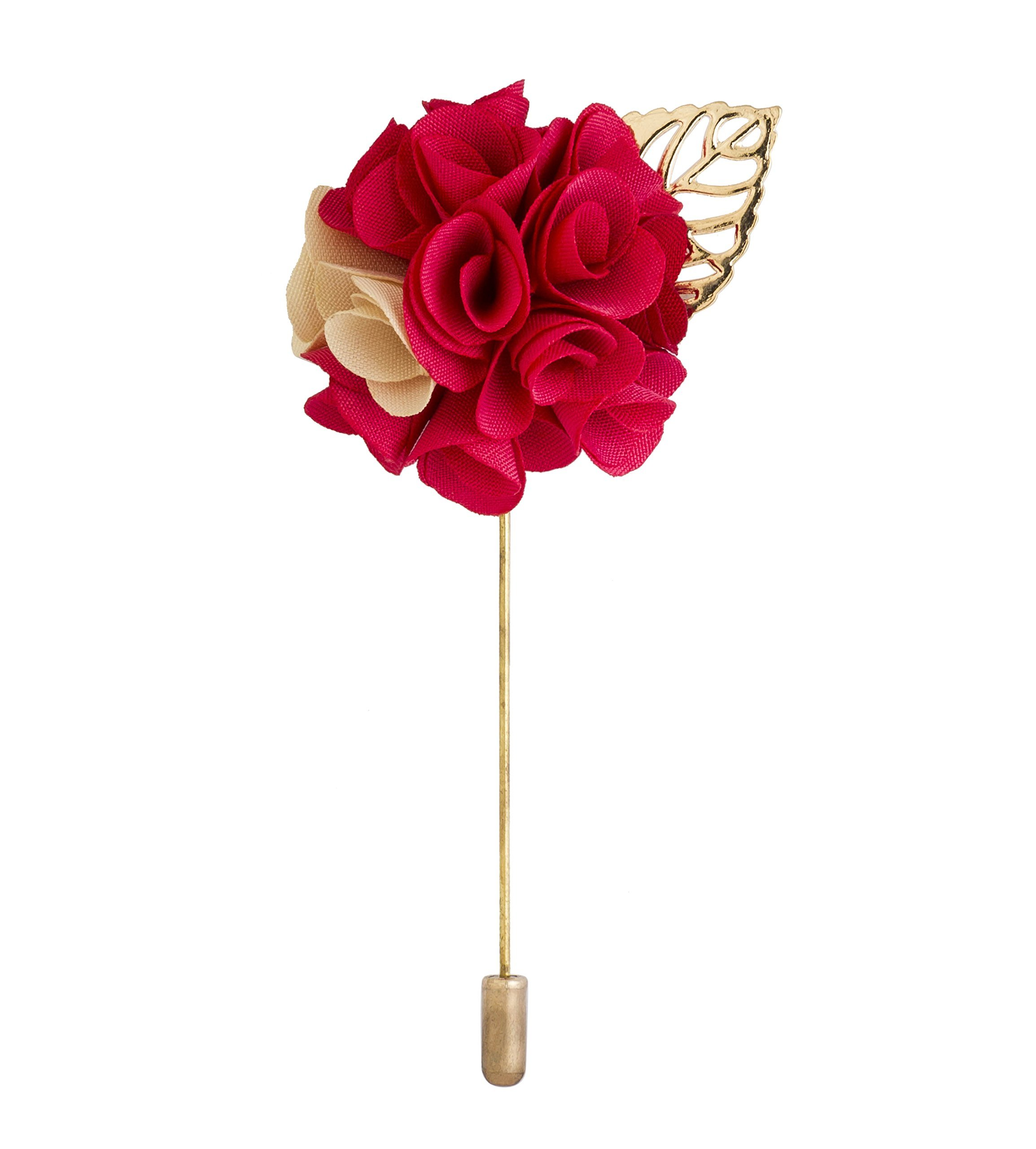 Knighthood Men's Bunch Flower With Golden Leaf Lapel Pin For Suit (Bright Pink & White)