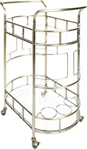 "Silverwood FS1133A-COM Sinclair 2-Tier Serving Cart 2, 17"" L x 26.5"" W x 34.5"" H, Antique Gold"