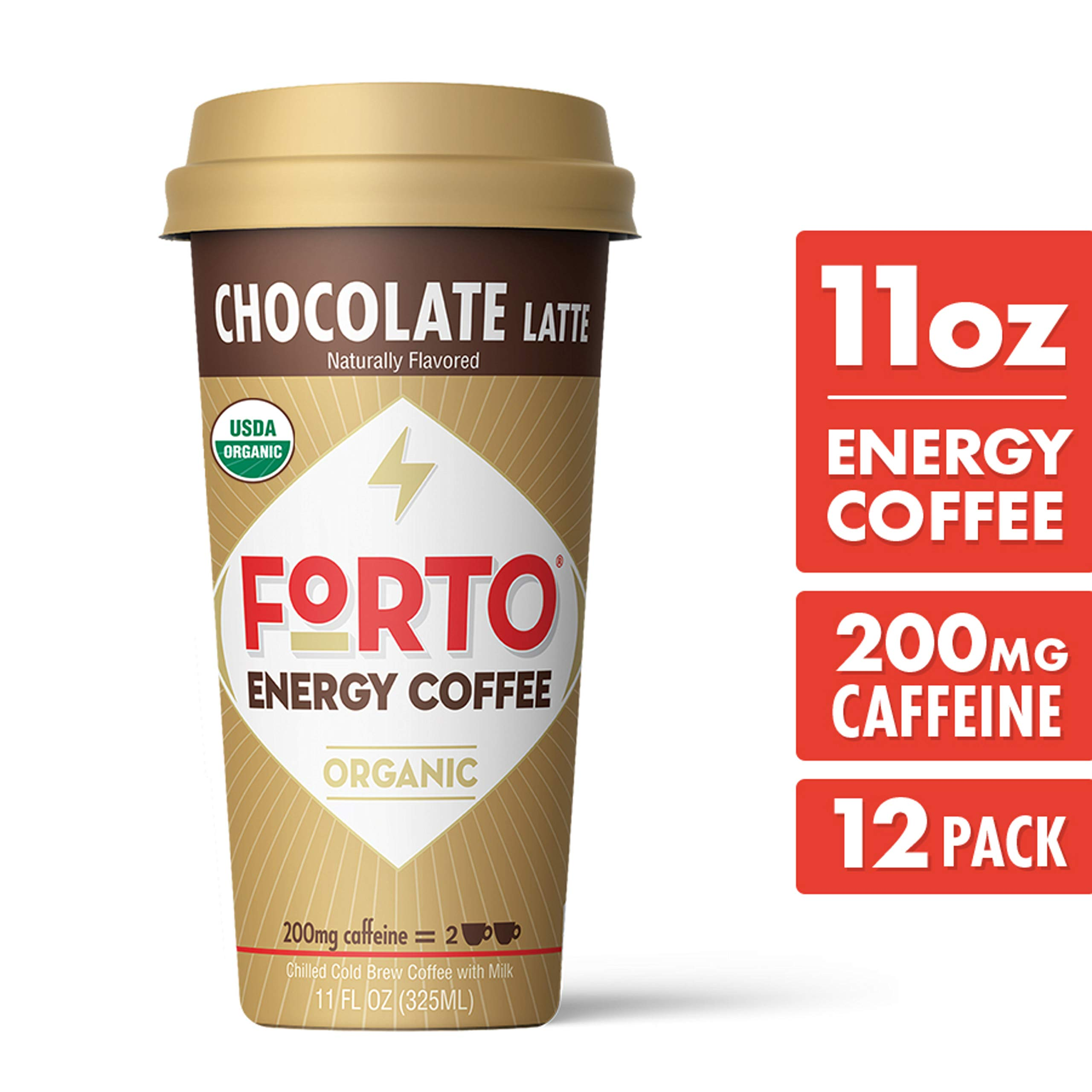FORTO Energy Coffee - 200mg Caffeine, Chocolate Latte, Delicious & Organic Energy, Ready-To-Drink 11 Fl Oz, Pack of 12 by FORTO