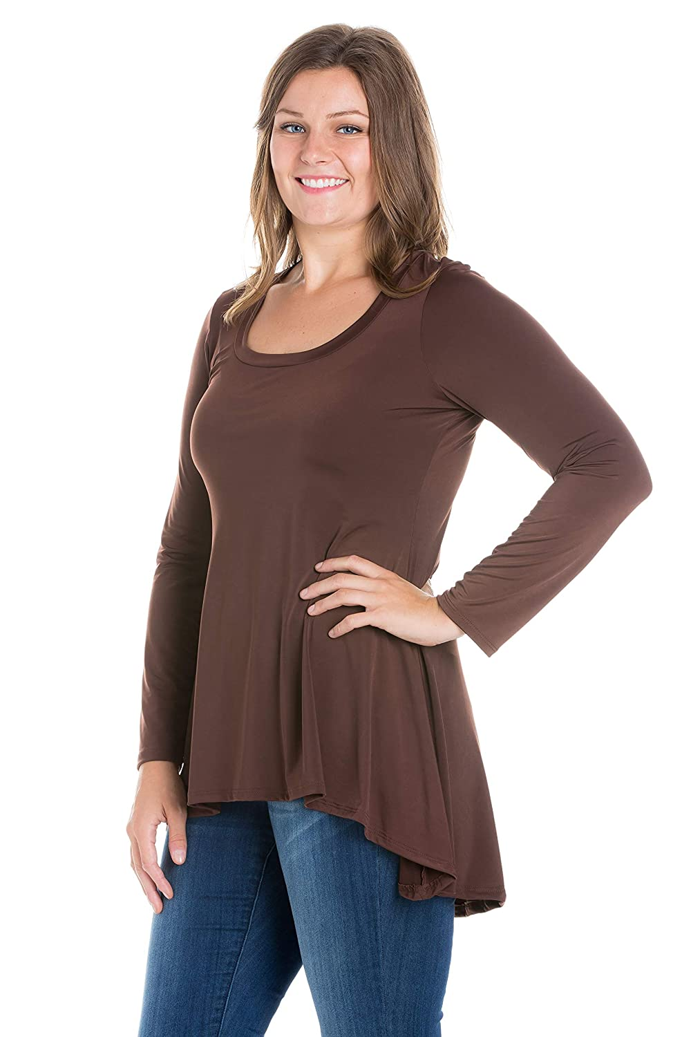 fc9731f7a7d4c5 24seven Comfort Apparel Plus Size Clothing for Women Long Sleeve High Low Tunic  Top - Made in USA - (Sizes 1XL-3XL) at Amazon Women s Clothing store