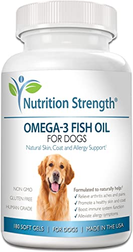 Nutrition Strength Omega 3 Wild Fish Oil for Dogs, EPA and DHA Fatty Acids, Skin, Coat and Allergy Support, Hip Joint and Arthritis Dog Supplement, 180 Soft Gels