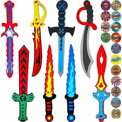 Funtoga 8 Kids Foam Swords Bulk - Karate Ninja Pirate Warrior and Viking Designs+Superhero Stickers