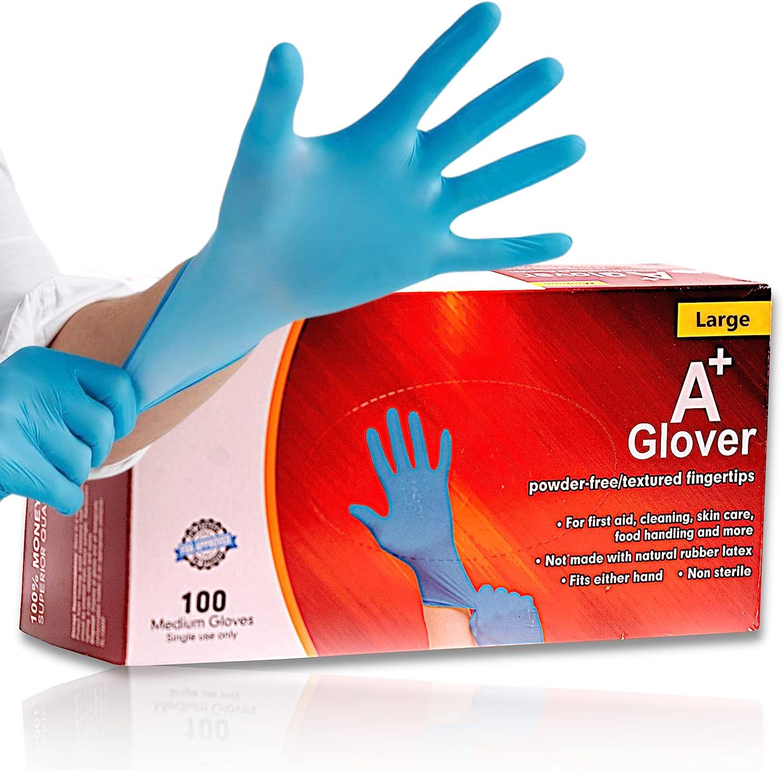 Nitrile Exam Gloves | Latex Free, Powder Free, Disposable | Medical Grade, Food Safe | 4 Mil, Textured Fingertips