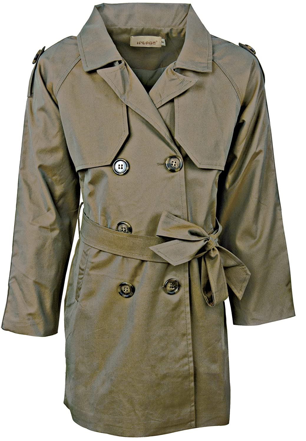 Ipuang Girl's Cotton Long Sleeves Trench Jacket Dress Coats Camel Waterproof