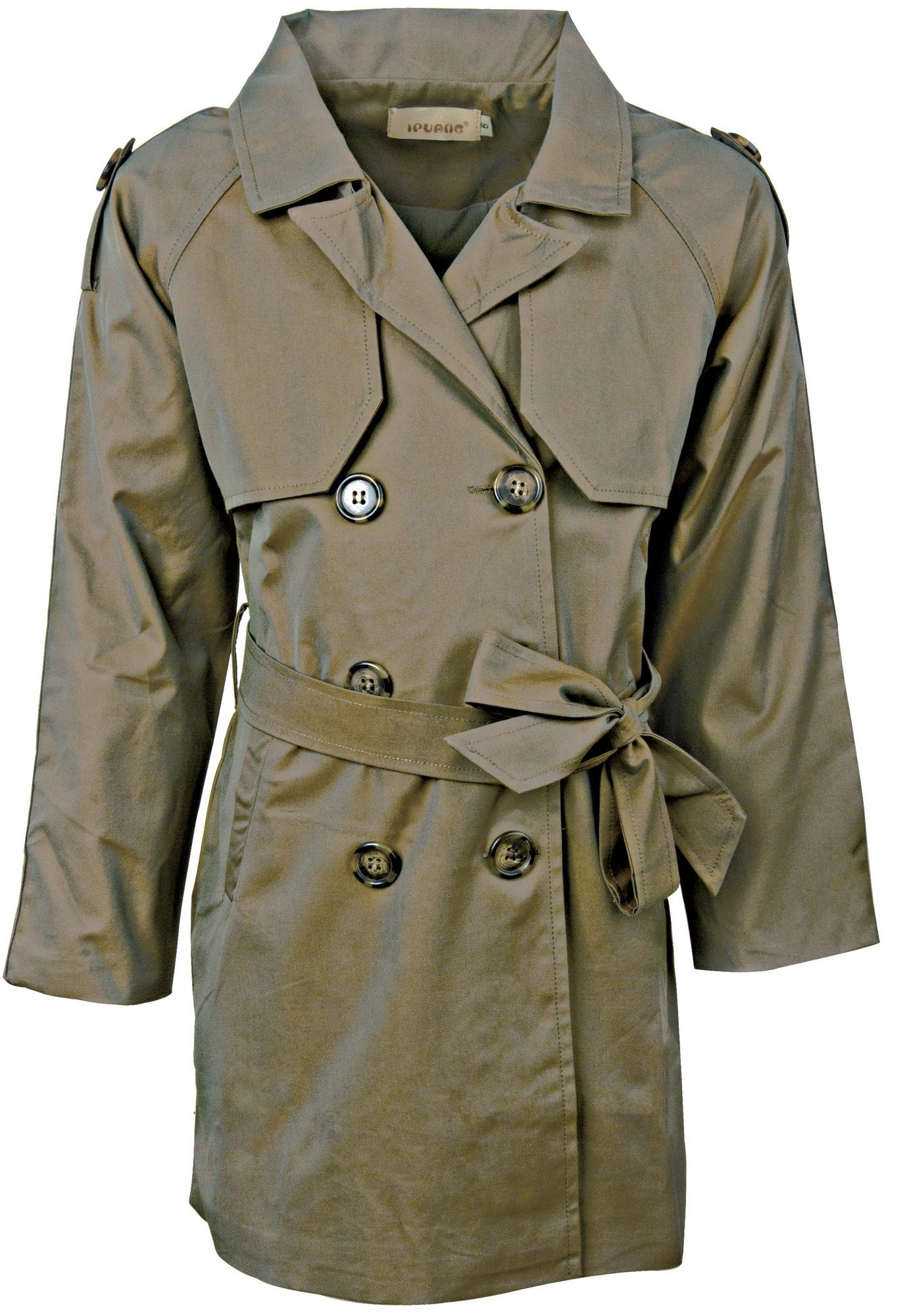 Ipuang Girl's Cotton Long Sleeves Trench Jacket Dress Coats Olive Waterproof 14