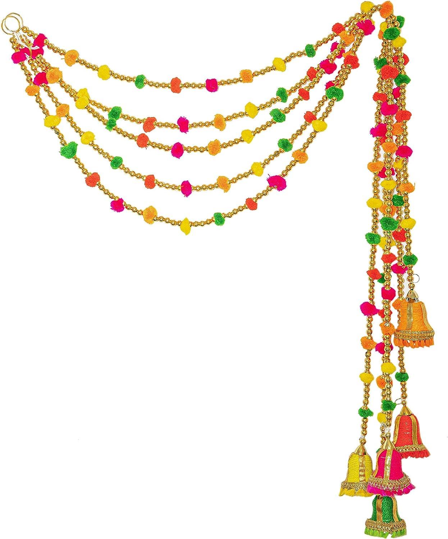 5-String Handmade Boho Decor Rainbow Felt Ball Pom Pom Garland - The Perfect Bohemian Decoration for Your Colorful Living Room Dorm Room an Eclectic Decor Party Celebration Item (Red)