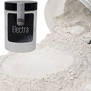 FIREDOTS Electra Mica Powder - 100g of White Mica Pearl Pigment Powder Soap Making, Epoxy Resin, and More - Cosmetic Grade White Mica Powder - Epoxy Resin Color Pigment