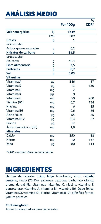 Almirón Papilla de multicereales a partir de 6 meses - Paquete de 2 x 250 g- Total: 500 g