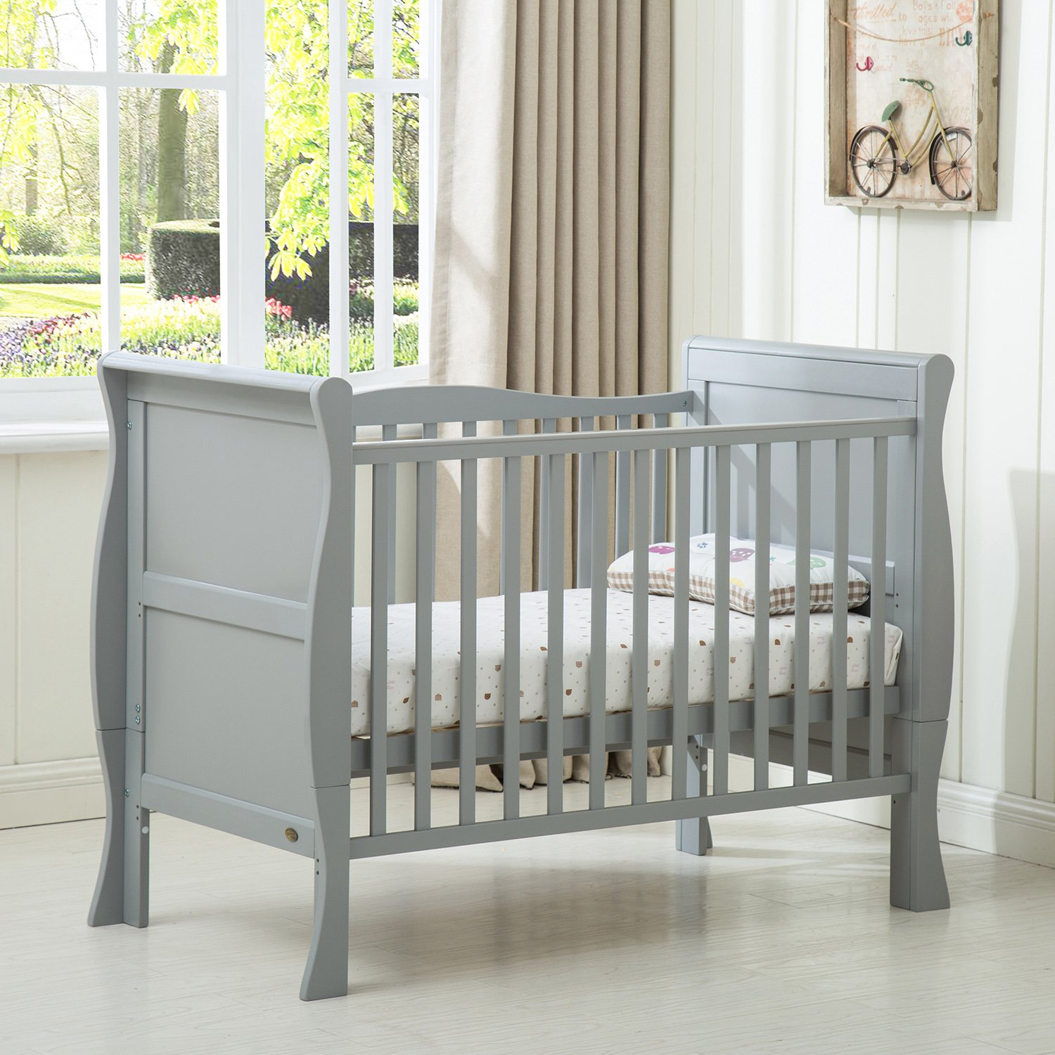 MCC/® Grey Solid Wooden Baby Cot Bed Savannah Sleigh Cotbed Toddler Bed /& Premier Water Repellent Mattress Made in England