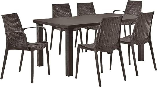 casa.pro] Juego de Muebles de jardín Mesa con 6 sillas - Efecto ratán - Set Muebles jardín marrón: Amazon.es: Hogar