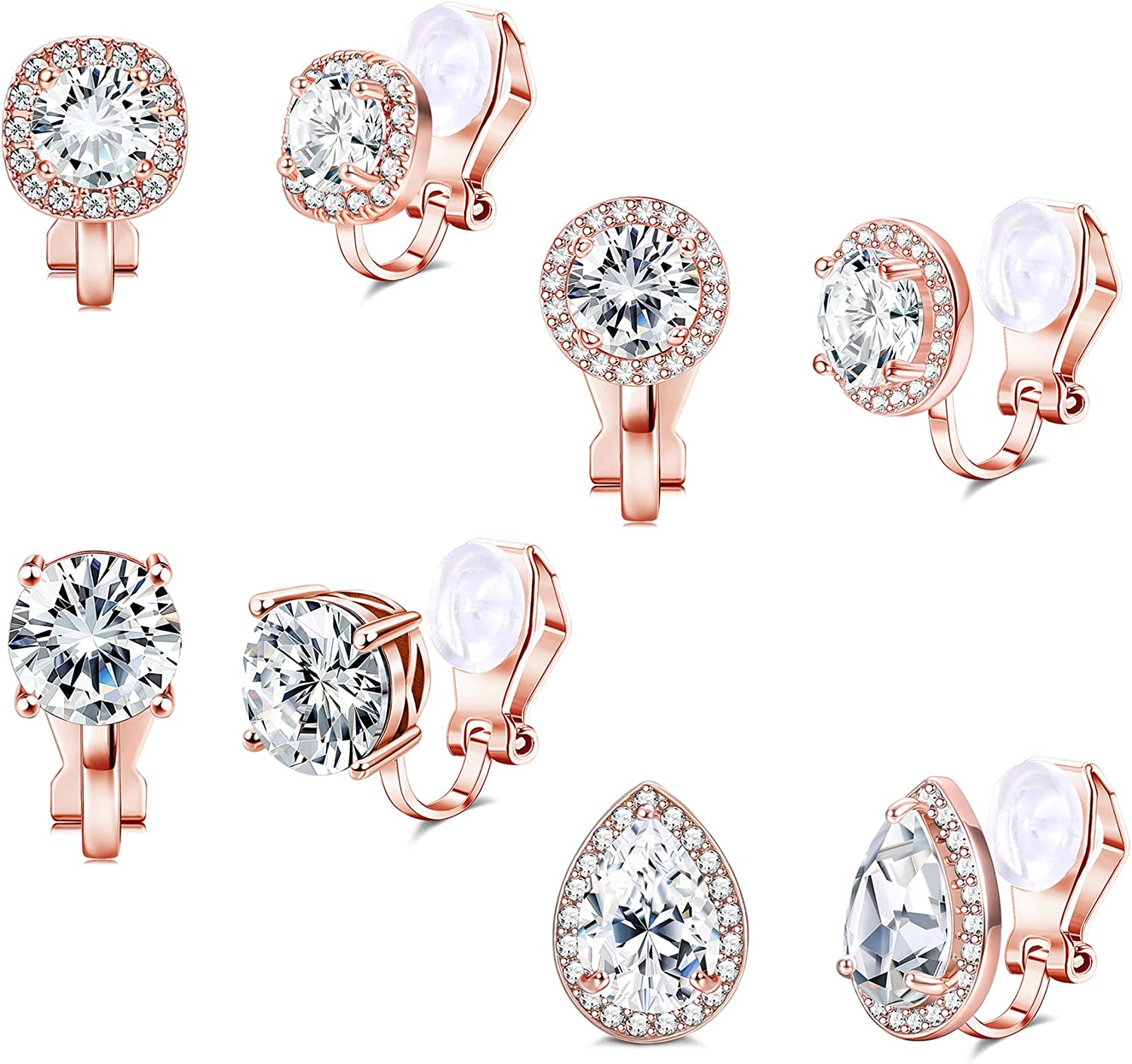 SAILIMUE 4 Pairs Clip On Earrings for Women Cubic Zirconia Non Pierced Earrings Round Square Teardrop Clip Earrings Silver-Tone Rosegold-tone