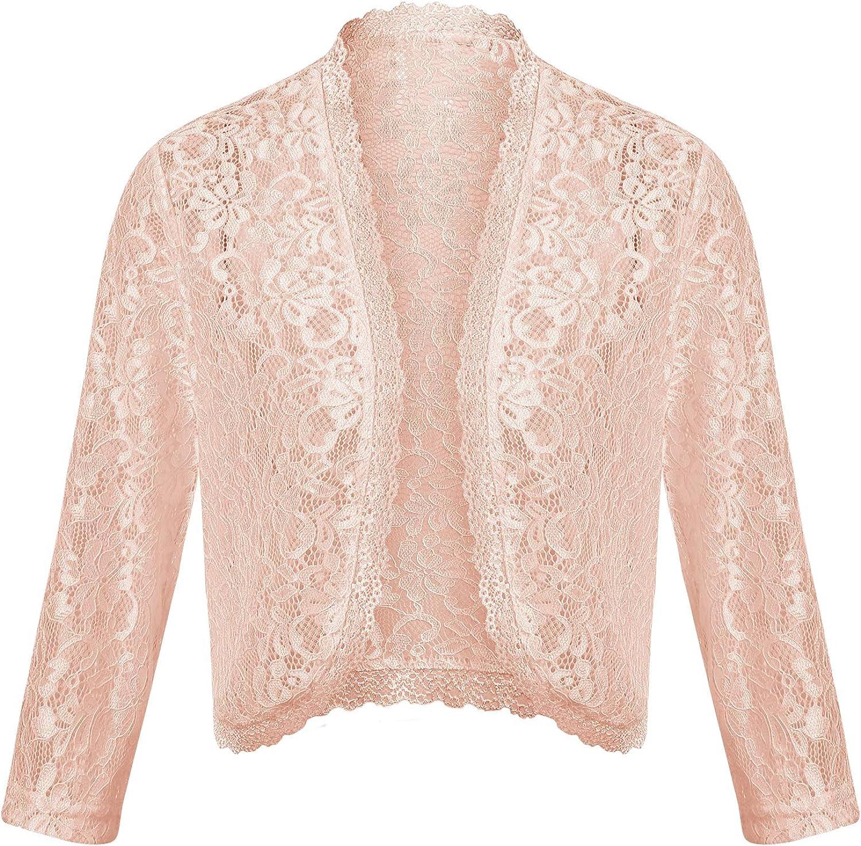 Concep Women's Crochet Lace Shrug 3 4 Sleeve Bolero Open Front Cardigan (S XXL)