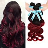 Violet Beauty 7A 100% Unprocessed Brazilian Virgin Hair Body Wave 3 Bundles Human Hair Extensions No Shedding No Tangle (12 14 16 inches, T1b/BG)