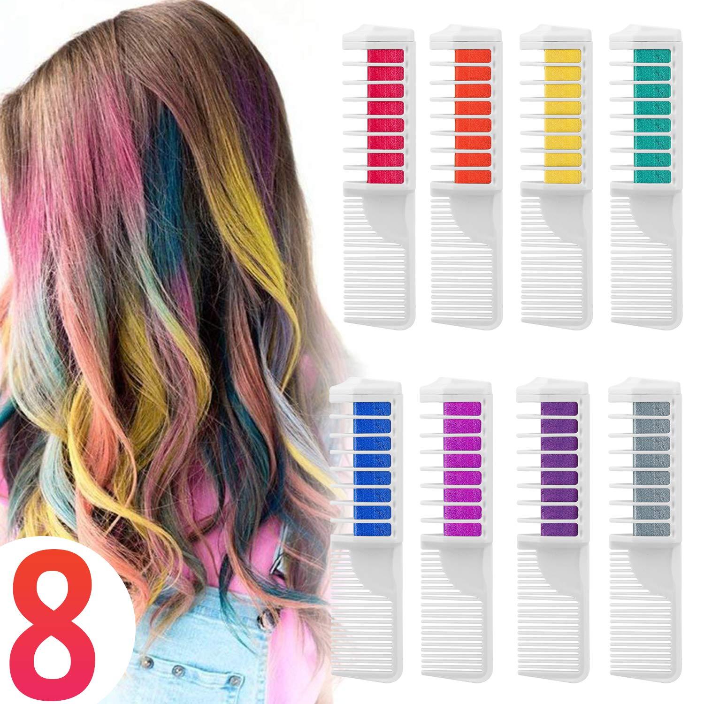 Coloración temporal Cabello Tiza peine cabello tinte cabello, Wolady 8 colores 2 en 1 peine