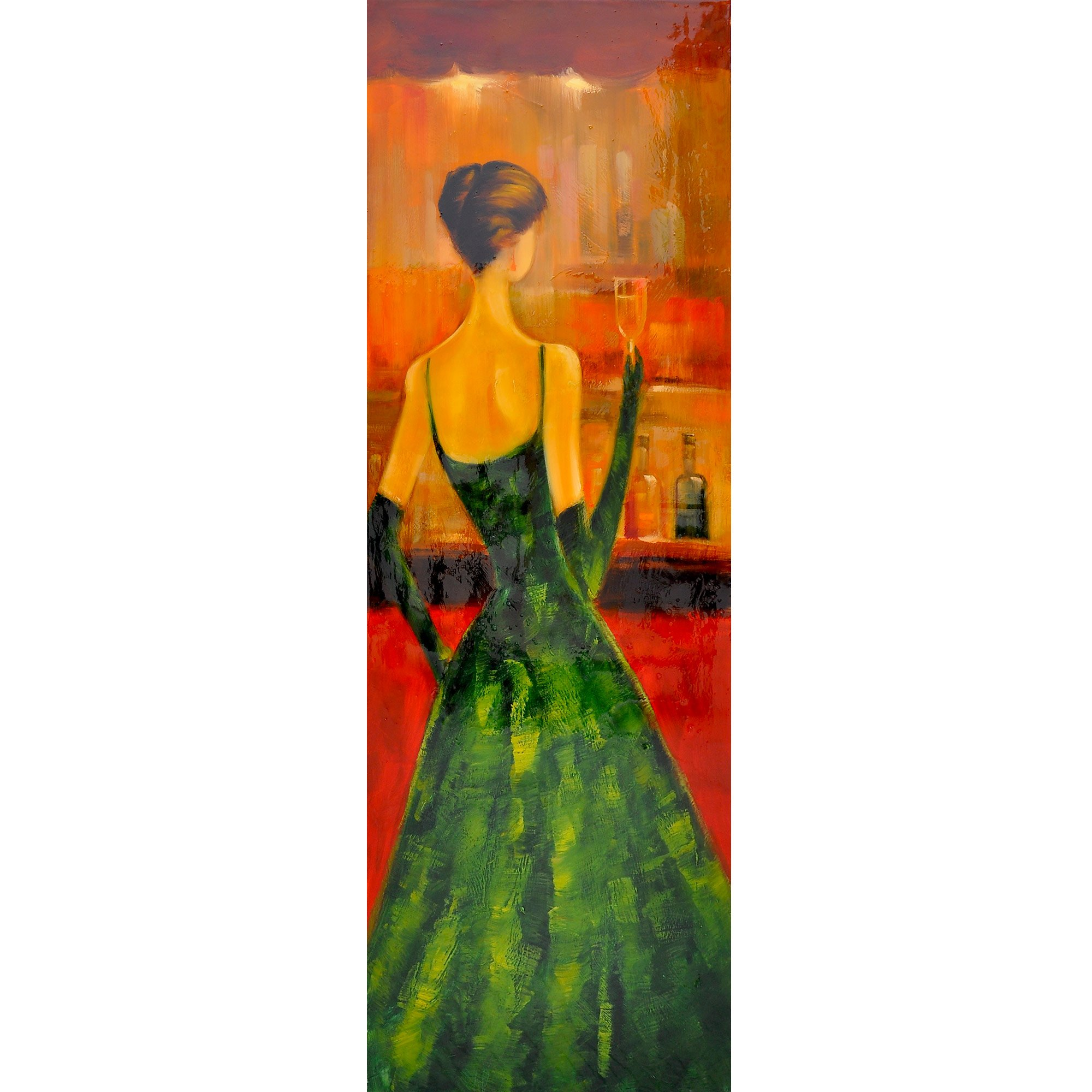 Yosemite Home Decor FCB4660Q-2 Women of Distinction Green Hand Painted Wall Art by Yosemite Home Decor