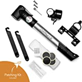 SAMLITE - Best handheld Mini Bike Pump with Glue-less Puncture Repair Kit, Fits Presta and Schrader Valve, Includes Mount Kit, High Pressure 120 PSI, 8 bar, FREE Bike Bell and Sports Needle Included