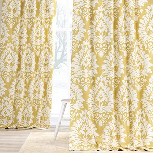 HPD Half Price Drapes PRTW-D46A-96 Printed Cotton Twill Curtain 1 Panel
