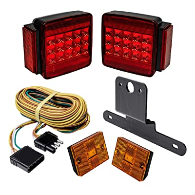 LED Trailer Light Kit w/Amber Marker Lights [DOT FMVSS 108] [SAE S2T2IA/APC] [TBT & License Plate Light & Wiring Harness] [IP67 Submersible Waterproof] Motorcycle Boat Trailer Tail Brake Light Kit: Automotive