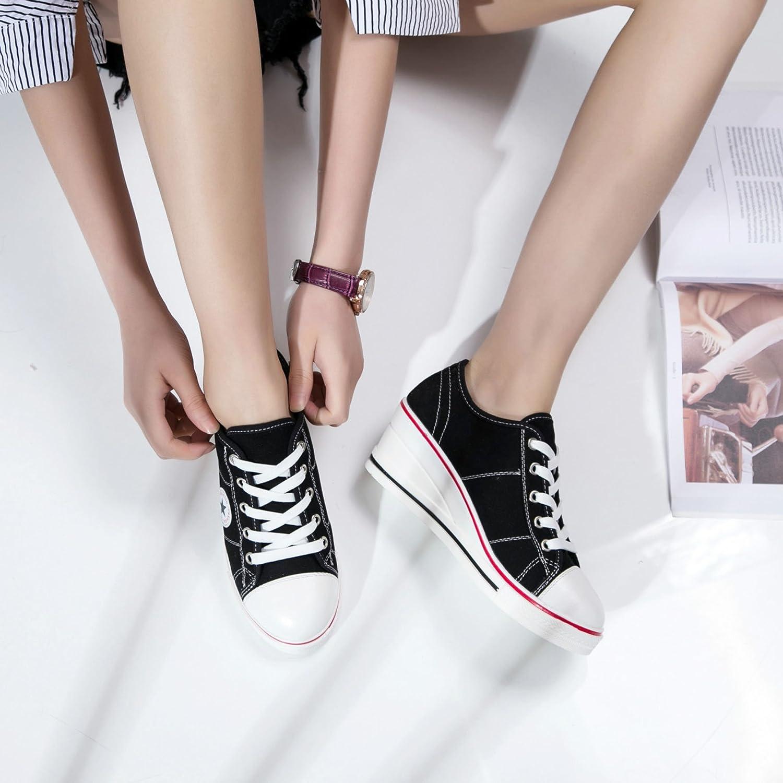 Femme Baskets Mode en Tennis Chaussures Toile Talon Compens/é Chaussures de Sport Fermeture Lacets Taille 40 41 42
