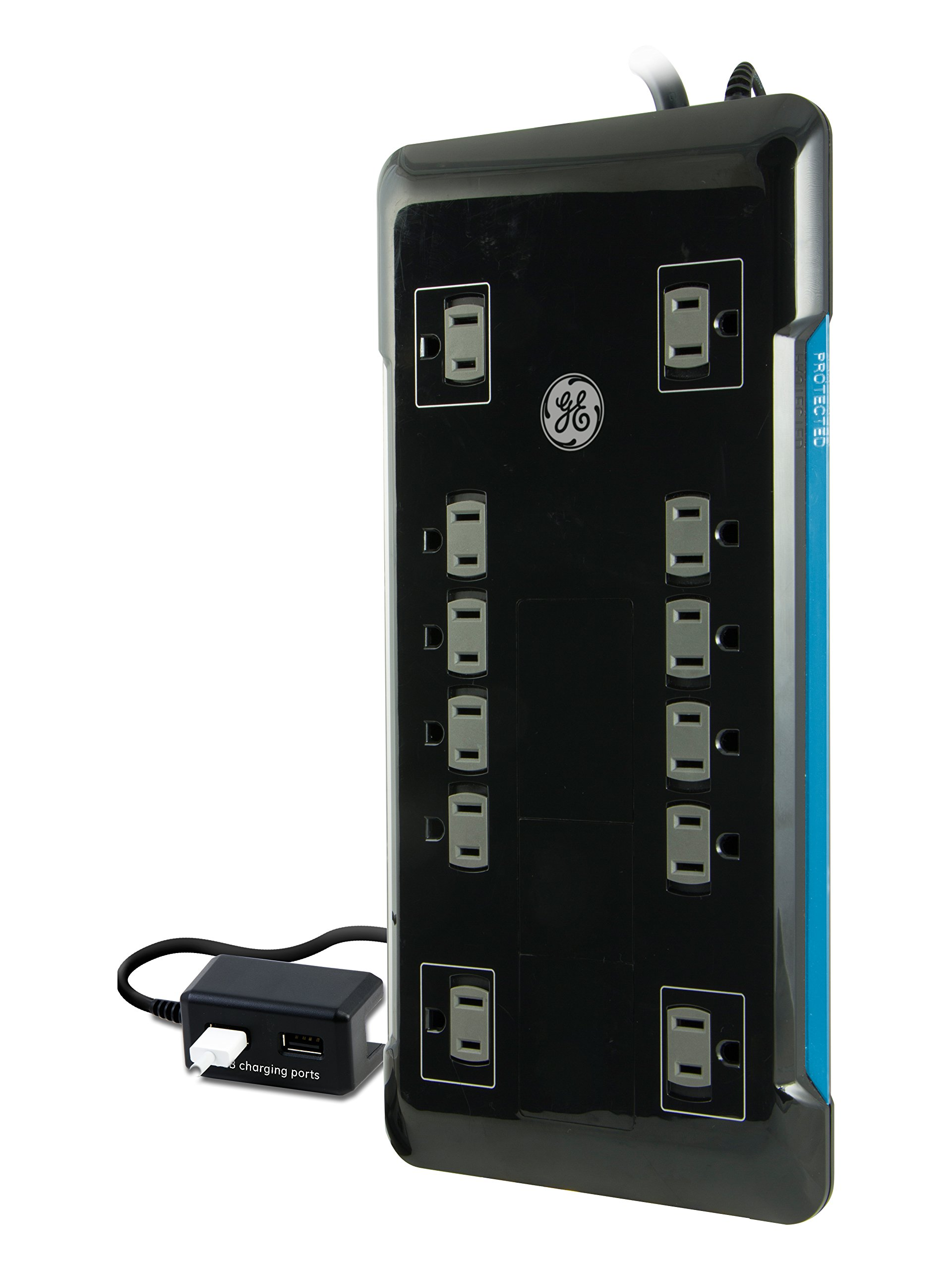 GE Surge Protector, 12 Outlet Power Strip, 2 USB Ports, Extra-Long 8ft Power Cord, Flat Plug, Power Filter, Circuit Breaker, 4320 Joules, Warranty, Black, 11824