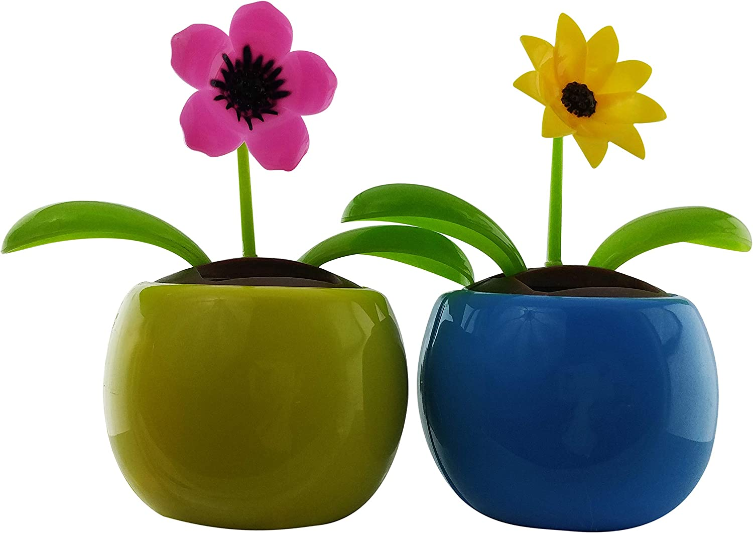 Eco-friendly Solar Powered Flower Dancing Toys | Pink Petunia and Yellow Black-Eyed Susan Solar Flowers in Decorative Pots | Office Desk, Car Décor, and Sunflowers in colorful pots | (2 Pack)