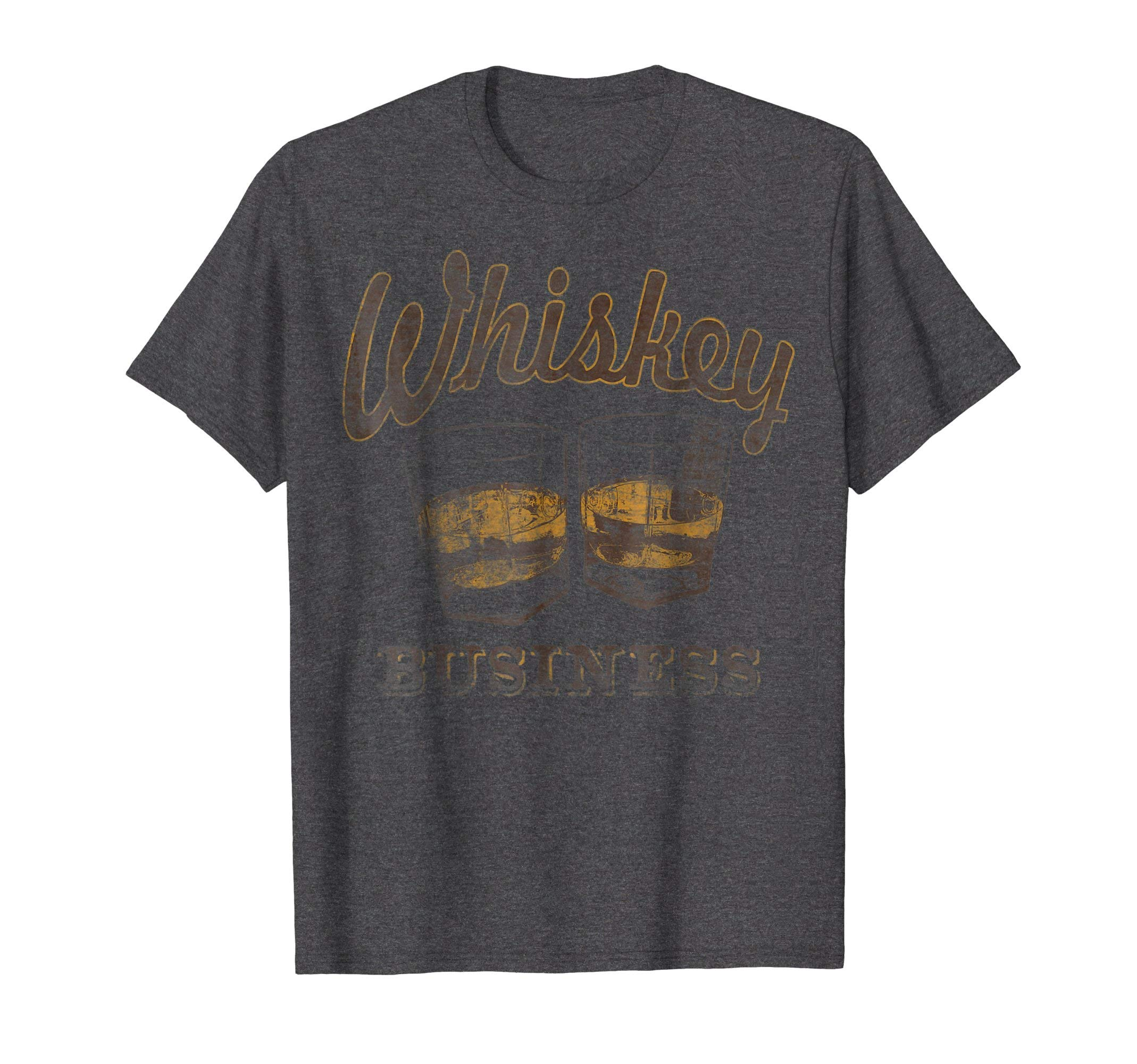 Mens Whiskey Business Shot Glasses Vintage Retro Graphic T-Shirt 2XL Dark Heather by Drinking T-Shirt