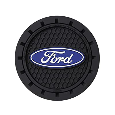 Plasticolor 000651R01 Ford Oval Auto Car Truck SUV Cup Holder Coaster 2-Pack: Automotive