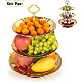 Fruit Plate, Imillet 3 Tier Stainless Steel Plate for Fruits Cakes Desserts Candy Buffet Stand for Wedding &Home&Party (Golden)