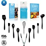 Kitchen Utensils Set - Silicone 10 Piece Black Cooking Tools - Non-Stick, Non-Scratch, Odorless, BPA Free, Heat Resistant Quality-Stainless Steel Whisk, Serving Tongs, Flexible Spatula, Spoonula , Noodle Server, Ladle, Slotted Spoon, Tongs w/ E-book