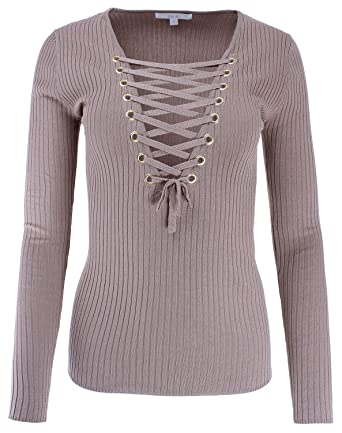 Ladies  Code Long Sleeve Plunge V-Neck Lace Up Ribbed Knit Sweater Khaki S 63d20a268