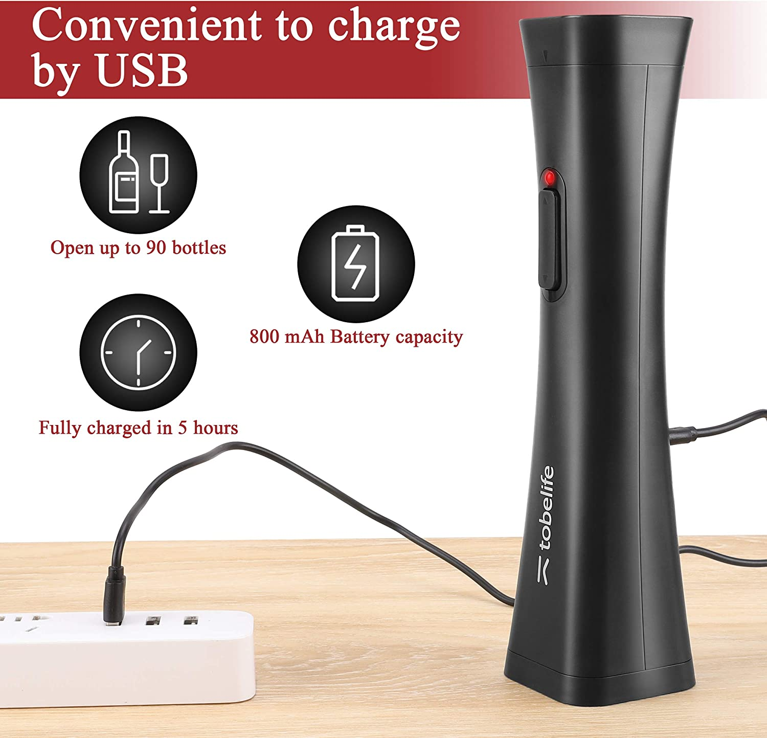 Wine Opener Kit Rechargeable Cordless Automatic Corkscrew Wine Bottle Opener Set for Party Dating The Best Gift for Wine Lovers tobelife 4-in-1 Electronic Wine Opener Black,Red Packing Box