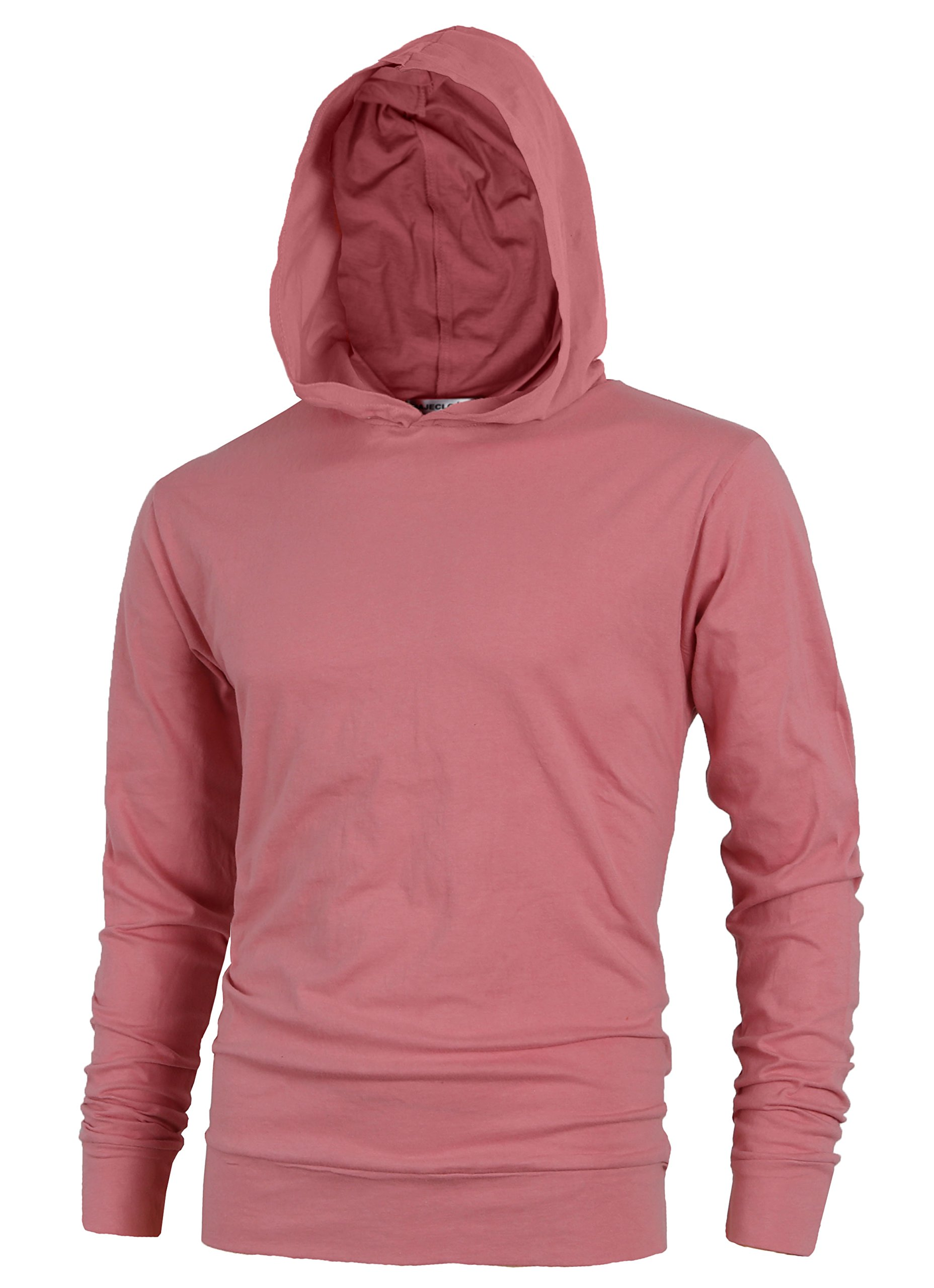 MAJECLO Mens Lightweight Cotton Pullover Long Sleeve Hoodie Sweatshirt(X-Large,Pink)