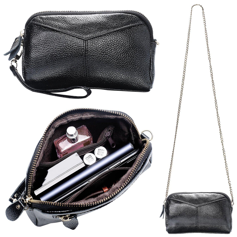 Women's Smartphone Soft Leather Wristlet Purse/Clutch Wallet/Crossbody Bag with Crossbody Strap&Wrist Strap (Black)