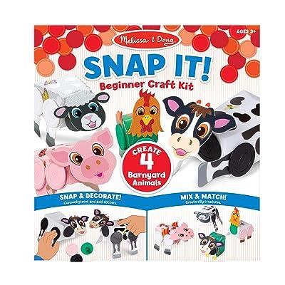 Melissa & Doug Snap It! Barnyard Farm Animals Beginner Craft Kit – Pig, Sheep, Cow, Chicken: Toys & Games