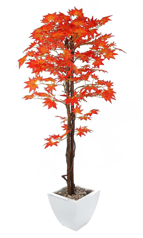 Closer To Nature Kunstpflanze Japanischer Ahornbaum, künstliche Pflanze aus Seide, rot, 48,6 cm, rot, 152 cm