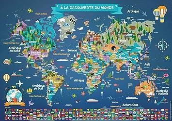 Carte Du Monde Zoomee.Poster Carte Du Monde Pour Enfant En Francais Grand Planisphere Mural Illustre Pays Drapeaux Animaux Monuments Decoration Murale Chambre